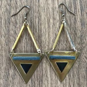 Urban Outfitters Gold Earrings Triangle Geometric